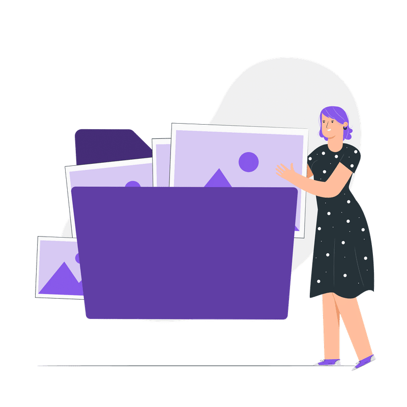 compress jpg online - woman putting images into a folder