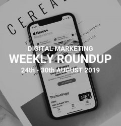 digital marketing weekly roundup with b&w image of a mobile phone on top of a magazine