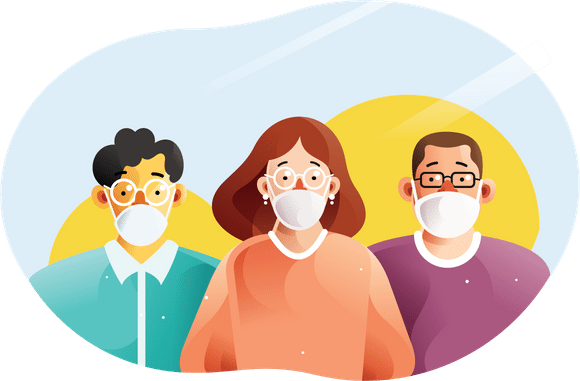 Working from home and Coronavirus - group of workers with masks