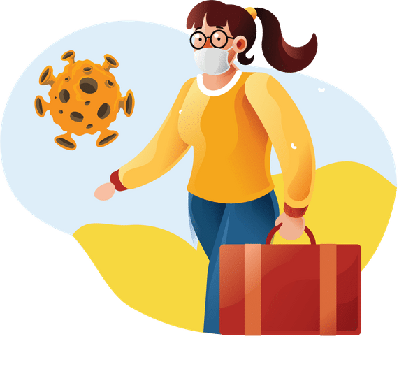 Working from home and Coronavirus - woman with mask and suitcase with virus next to her