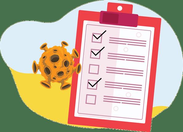 Working from home and Coronavirus - checklist with virus