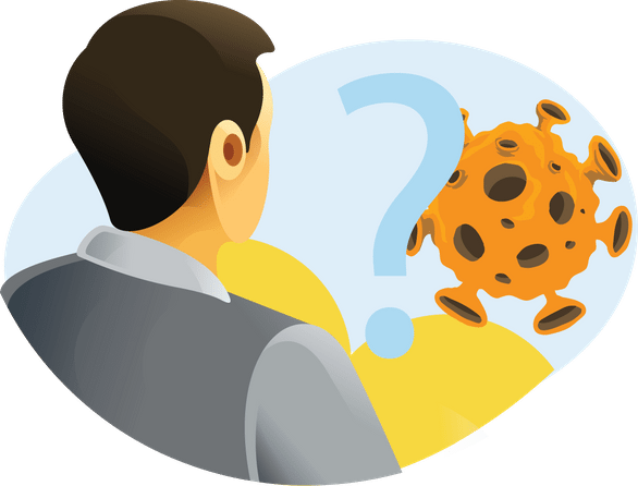 Working from home and Coronavirus - person with question mark and virus