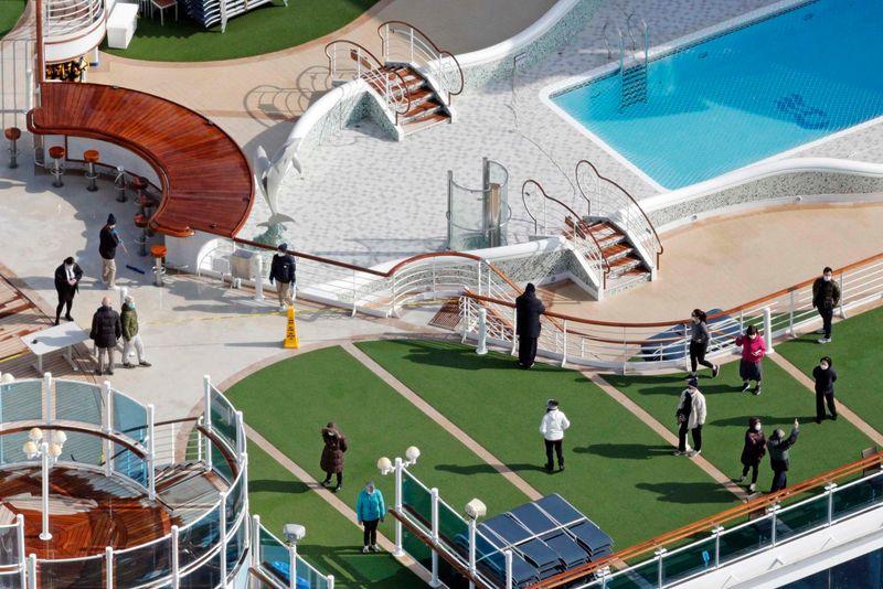 Social distancing photo gallery - passengers on the Diamond Princess cruise