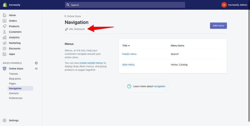 create a url redirect in shopify