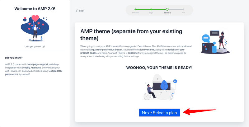 how to enable amp in shopify select a plan