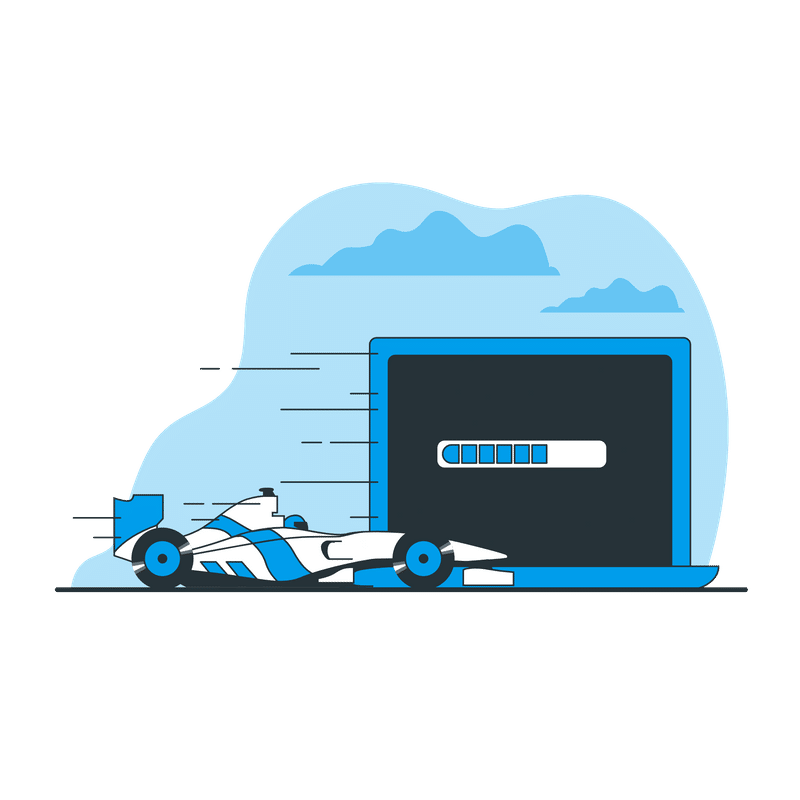 page load sped stats in 2020 formula 1 car and laptop