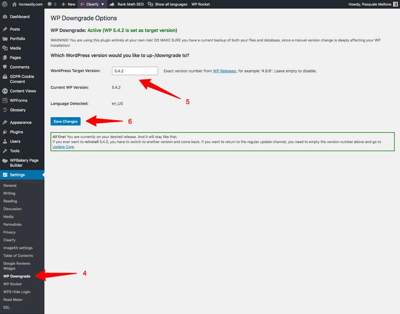 how to downgrade wordpress wp downgrade target version