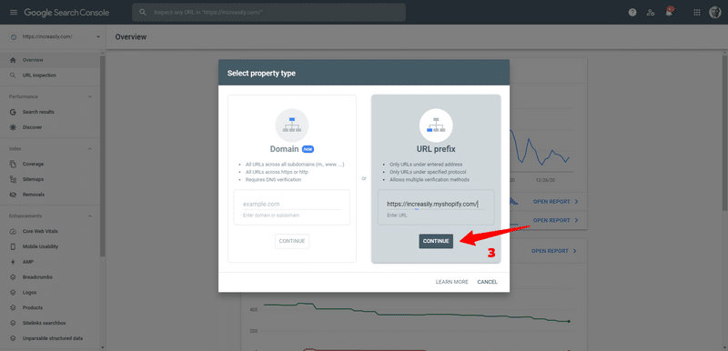 select property type google search console