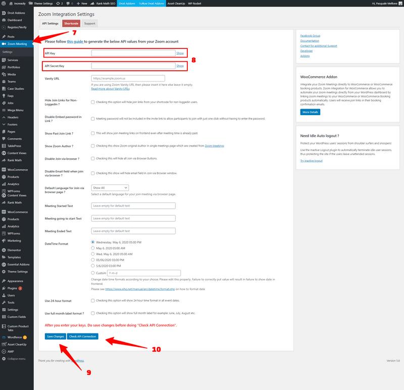 paste zoom api key and api secret key into wordpress