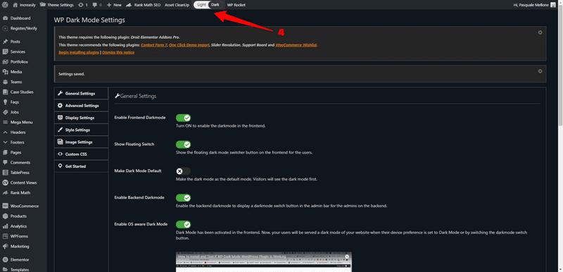 how to enable dark mode in wordpress admin