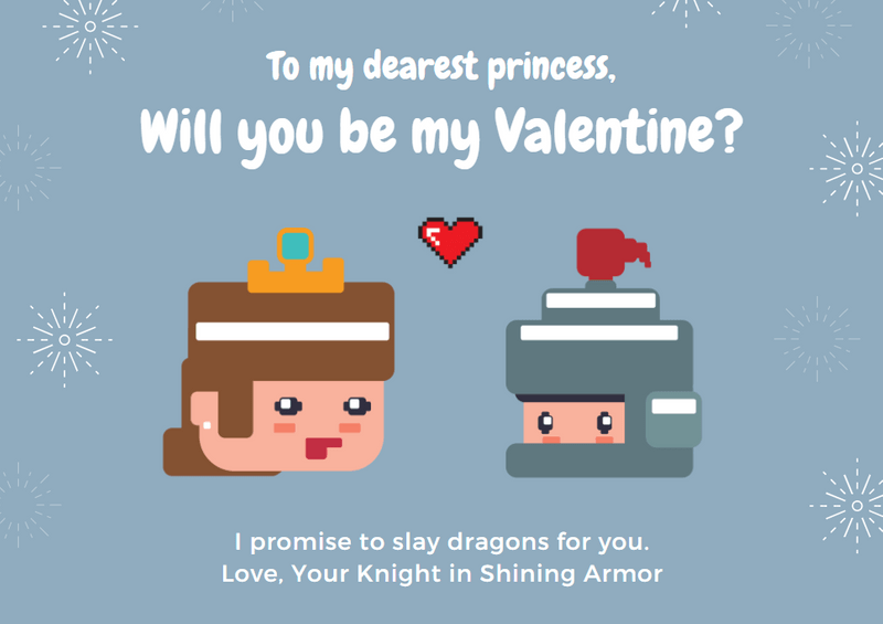 princess valentine's card canva template