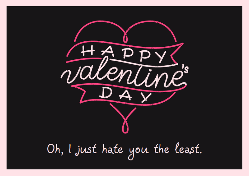 i hate you the least valentine's card canva template