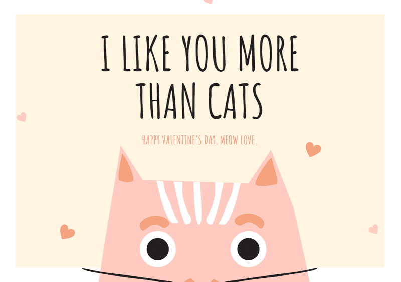 i like you more than cats valentine's day canva template