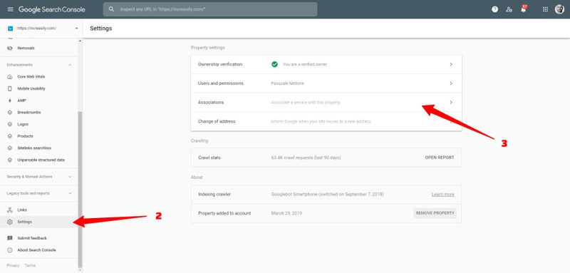google search console settings and associations