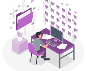 subdomain vs subdirectory man sitting at desk in front of folders illustration