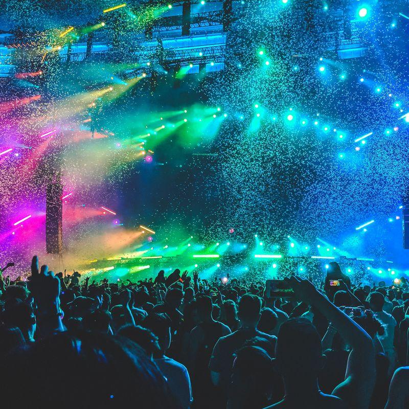 crowd at concert at night