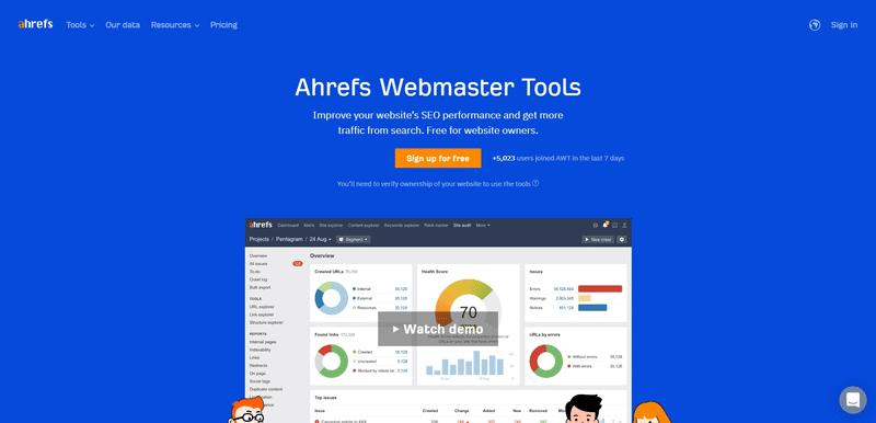 ahref webmaster tools blue screen