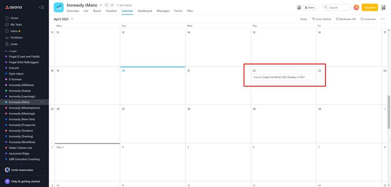 blog post calendar asana