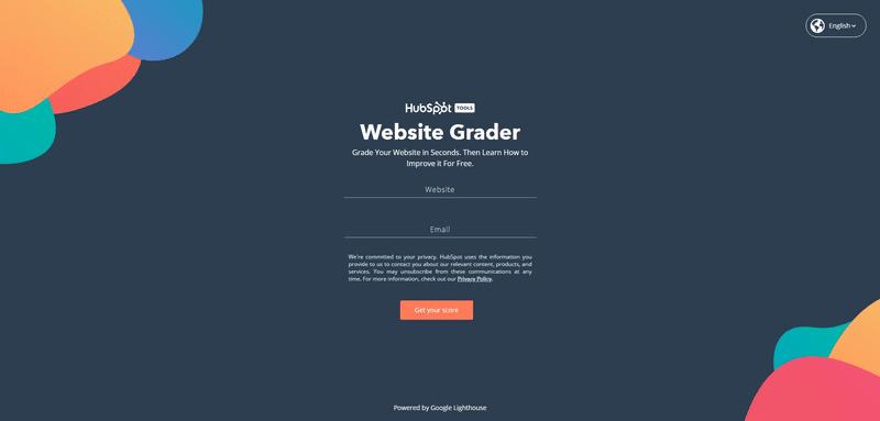 hubspot website grader screen