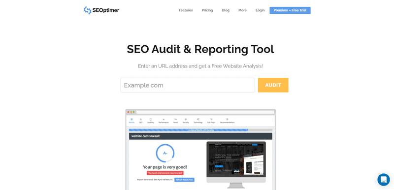 seoptimer seo audit tool screen